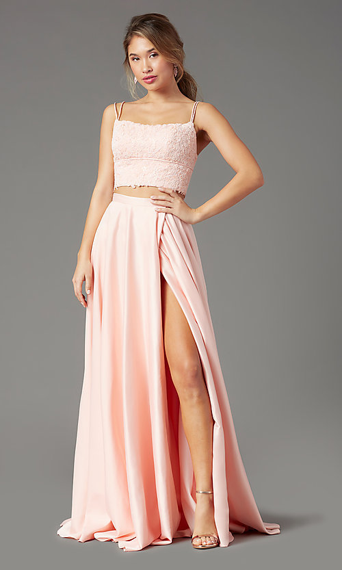 Image of satin long two-piece formal prom dress by PromGirl. Style: PG-F2038 Front Image