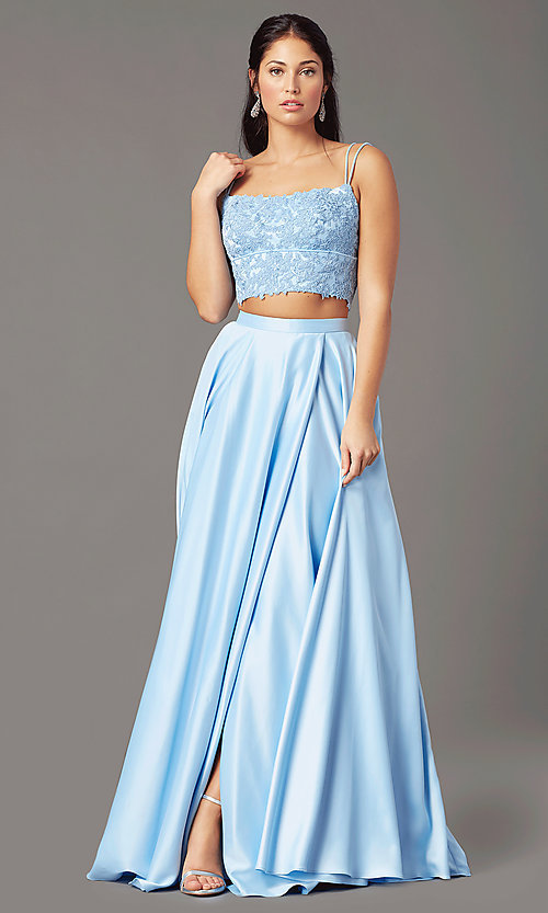 Image of satin long two-piece formal prom dress by PromGirl. Style: PG-F2038 Detail Image 5