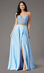 Image of faux-wrap long two-piece prom dress by PromGirl. Style: PG-F2039 Detail Image 2