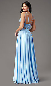 Image of faux-wrap long two-piece prom dress by PromGirl. Style: PG-F2039 Back Image