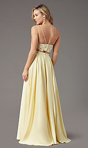 Image of faux-wrap long two-piece prom dress by PromGirl. Style: PG-F2039 Detail Image 4