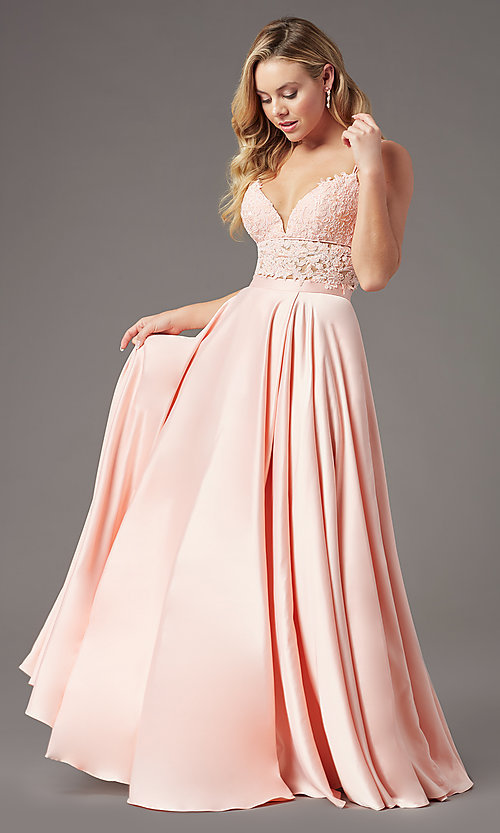 Image of faux-wrap long two-piece prom dress by PromGirl. Style: PG-F2039 Detail Image 6