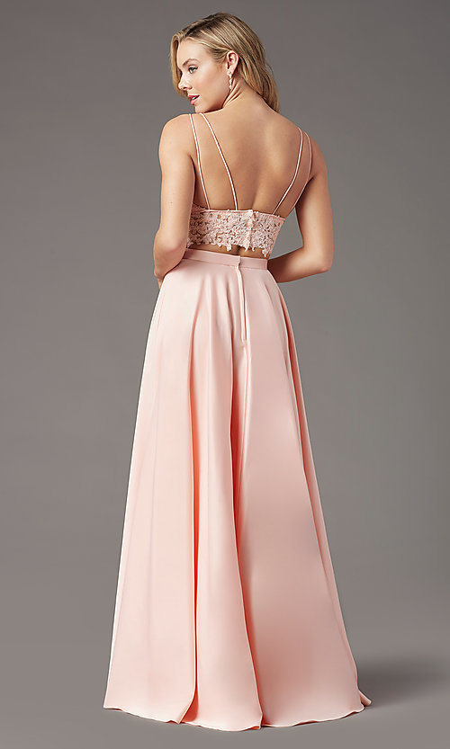 Image of faux-wrap long two-piece prom dress by PromGirl. Style: PG-F2039 Detail Image 7