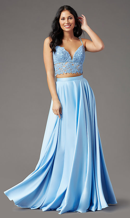 Image of faux-wrap long two-piece prom dress by PromGirl. Style: PG-F2039 Front Image