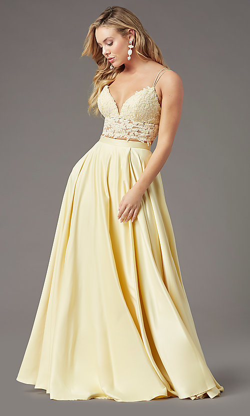Image of faux-wrap long two-piece prom dress by PromGirl. Style: PG-F2039 Detail Image 3