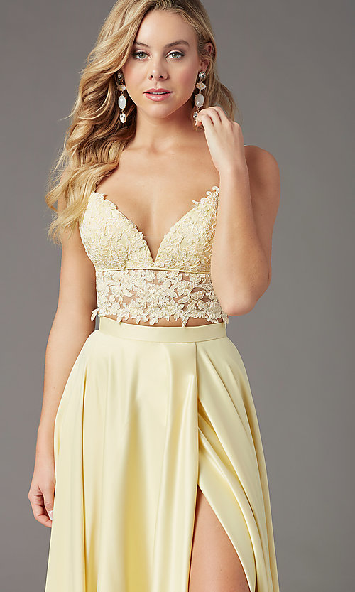 Image of faux-wrap long two-piece prom dress by PromGirl. Style: PG-F2039 Detail Image 5