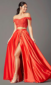 Image of PromGirl long prom dress with faux-wrap skirt. Style: PG-F2040 Detail Image 2