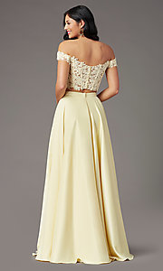 Image of PromGirl long prom dress with faux-wrap skirt. Style: PG-F2040 Detail Image 4
