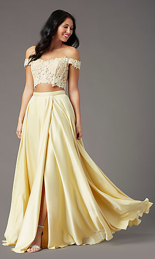 PromGirl Long Prom Dress with Faux-Wrap Skirt