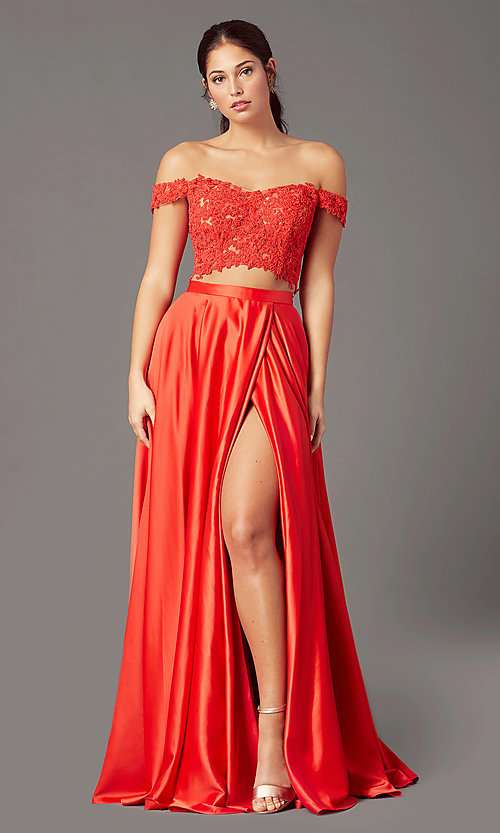 Image of PromGirl long prom dress with faux-wrap skirt. Style: PG-F2040 Front Image