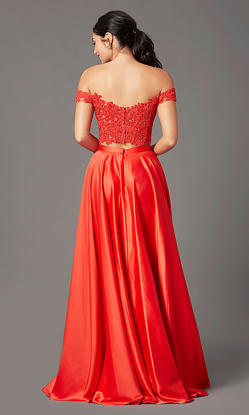 Image of PromGirl long prom dress with faux-wrap skirt. Style: PG-F2040 Back Image