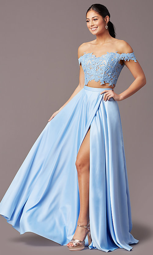 Image of PromGirl long prom dress with faux-wrap skirt. Style: PG-F2040 Detail Image 6