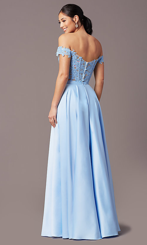 Image of PromGirl long prom dress with faux-wrap skirt. Style: PG-F2040 Detail Image 7