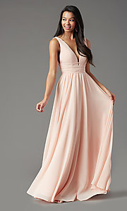 Image of Grecian-style long formal prom dress by PromGirl. Style: PG-F2041 Detail Image 2