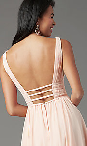 Image of Grecian-style long formal prom dress by PromGirl. Style: PG-F2041 Detail Image 5