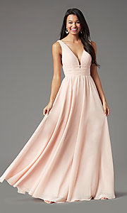 Image of Grecian-style long formal prom dress by PromGirl. Style: PG-F2041 Detail Image 6