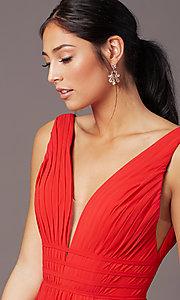 Image of Grecian-style long formal prom dress by PromGirl. Style: PG-F2041 Detail Image 1