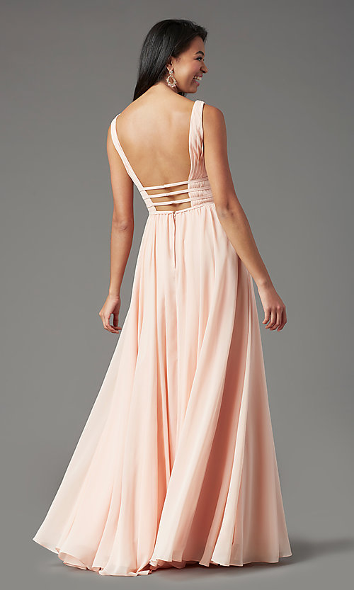 Image of Grecian-style long formal prom dress by PromGirl. Style: PG-F2041 Detail Image 3