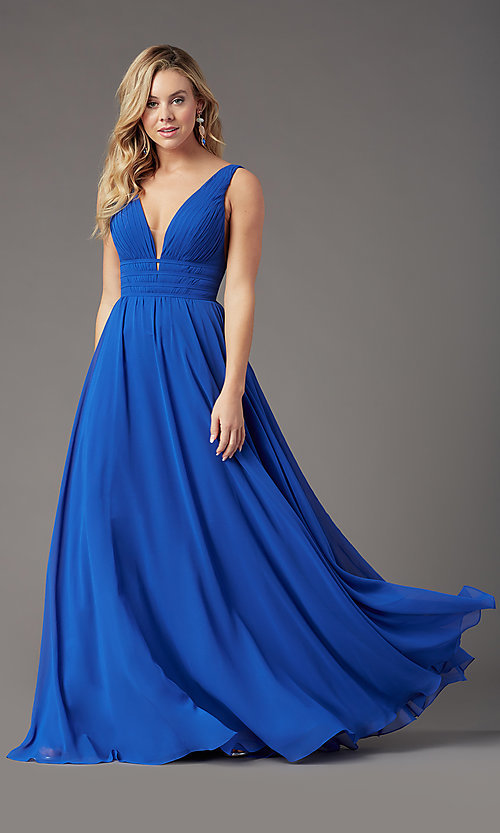 Image of Grecian-style long formal prom dress by PromGirl. Style: PG-F2041 Detail Image 7