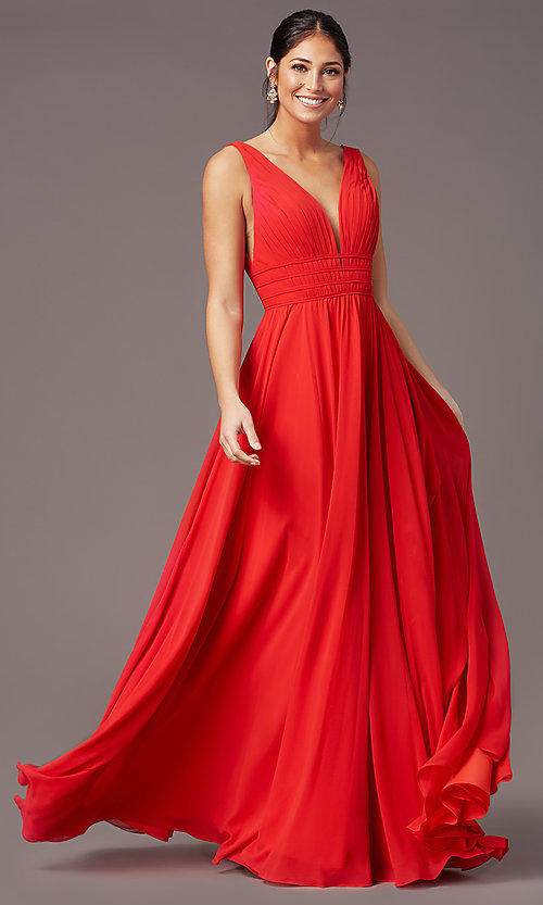 Image of Grecian-style long formal prom dress by PromGirl. Style: PG-F2041 Front Image