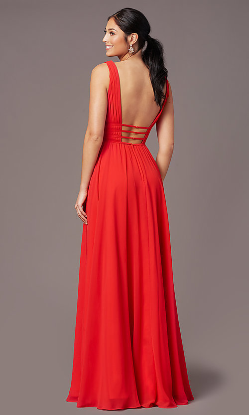 Image of Grecian-style long formal prom dress by PromGirl. Style: PG-F2041 Back Image