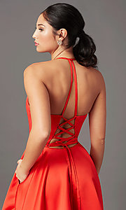 Image of long corset-tie a-line prom dress by PromGirl. Style: PG-F2043 Detail Image 1