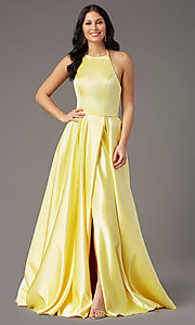Image of long corset-tie a-line prom dress by PromGirl. Style: PG-F2043 Detail Image 3