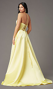 Image of long corset-tie a-line prom dress by PromGirl. Style: PG-F2043 Detail Image 4