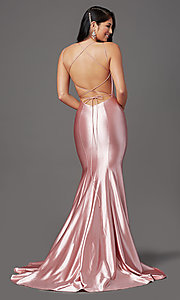 Image of trumpet-style open-back prom dress by PromGirl. Style: PG-Z20905 Detail Image 4