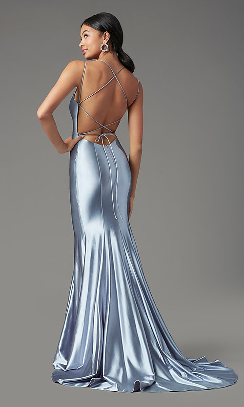 Image of trumpet-style open-back prom dress by PromGirl. Style: PG-Z20905 Front Image