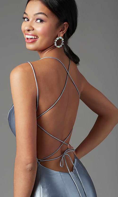Image of trumpet-style open-back prom dress by PromGirl. Style: PG-Z20905 Detail Image 2