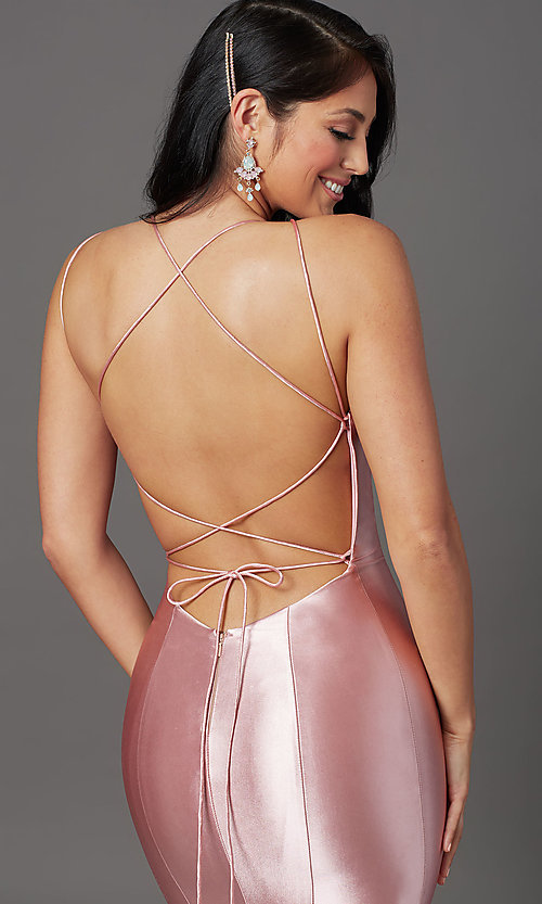 Image of trumpet-style open-back prom dress by PromGirl. Style: PG-Z20905 Detail Image 5