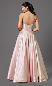 Image of long glitter a-line formal prom dress by PromGirl. Style: PG-Z20955 Back Image
