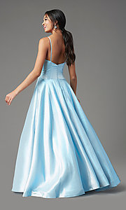 Image of long glitter a-line formal prom dress by PromGirl. Style: PG-Z20955 Detail Image 4