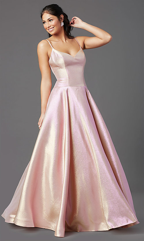 Image of long glitter a-line formal prom dress by PromGirl. Style: PG-Z20955 Front Image