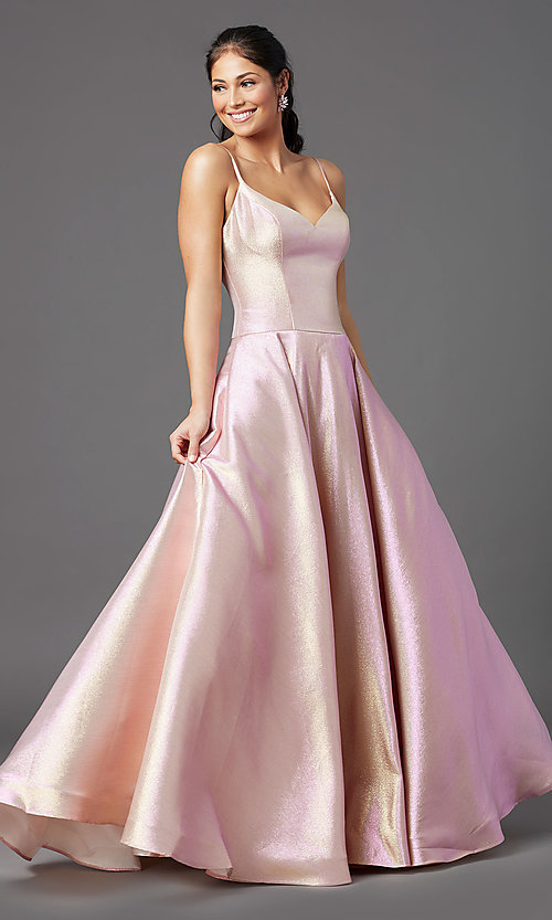 Image of long glitter a-line formal prom dress by PromGirl. Style: PG-Z20955 Detail Image 2