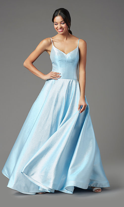 Image of long glitter a-line formal prom dress by PromGirl. Style: PG-Z20955 Detail Image 3