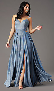 Image of PromGirl glitter-knit long dusty blue prom dress. Style: PG-Z20969 Front Image