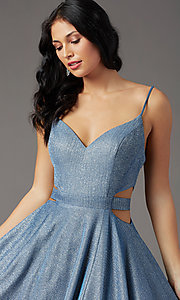 Image of PromGirl glitter-knit long dusty blue prom dress. Style: PG-Z20969 Detail Image 1