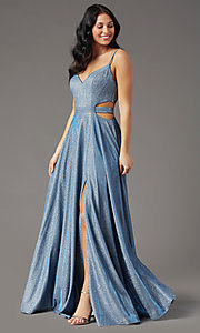 Image of PromGirl glitter-knit long dusty blue prom dress. Style: PG-Z20969 Detail Image 2