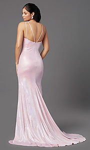 Image of v-neck long PromGirl prom dress in ballerina pink. Style: PG-Z20983 Back Image