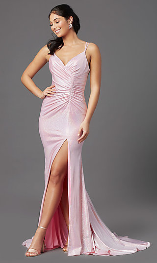 V-Neck Long PromGirl Prom Dress in Ballerina Pink
