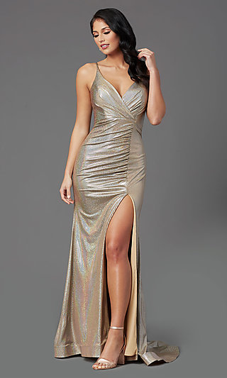 Long V-Neck Vintage Gold Prom Dress by PromGirl