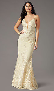 Image of PromGirl long prom dress with removable overlay. Style: PG-Z20648 Detail Image 3