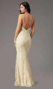 Image of PromGirl long prom dress with removable overlay. Style: PG-Z20648 Back Image