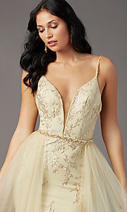 Image of PromGirl long prom dress with removable overlay. Style: PG-Z20648 Detail Image 1