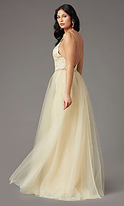 Image of PromGirl long prom dress with removable overlay. Style: PG-Z20648 Detail Image 2