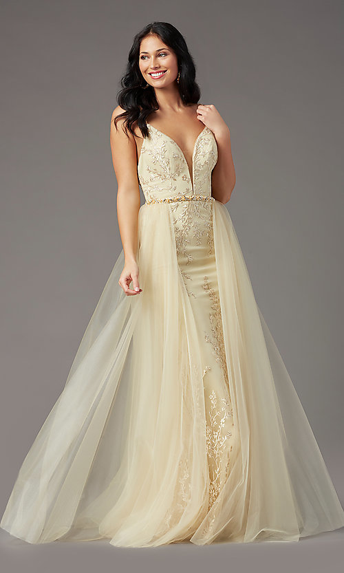 Image of PromGirl long prom dress with removable overlay. Style: PG-Z20648 Front Image