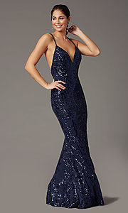 Image of navy long sequin formal prom dress by PromGirl. Style: PG-Z20628 Front Image