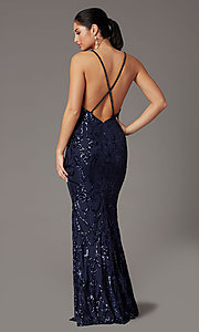 Image of navy long sequin formal prom dress by PromGirl. Style: PG-Z20628 Back Image